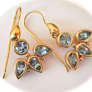 Wonderful Temple St. Clair 18K Y/Gold Aquamarine Drop Earrings