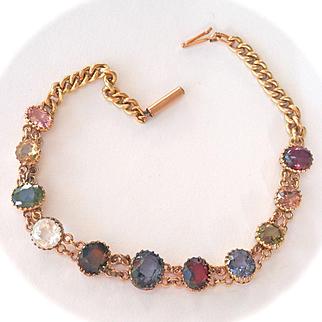 Lovely Victorian 15K Y/Gold Multi-Gem Bracelet