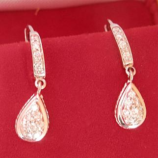 Terrific 18K W/Gold Diamond Drop Earrings
