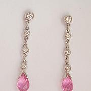 ON HOLD Lovely! 18K W/Gold Pink Sapphire Briolette Diamond Drop Earrings