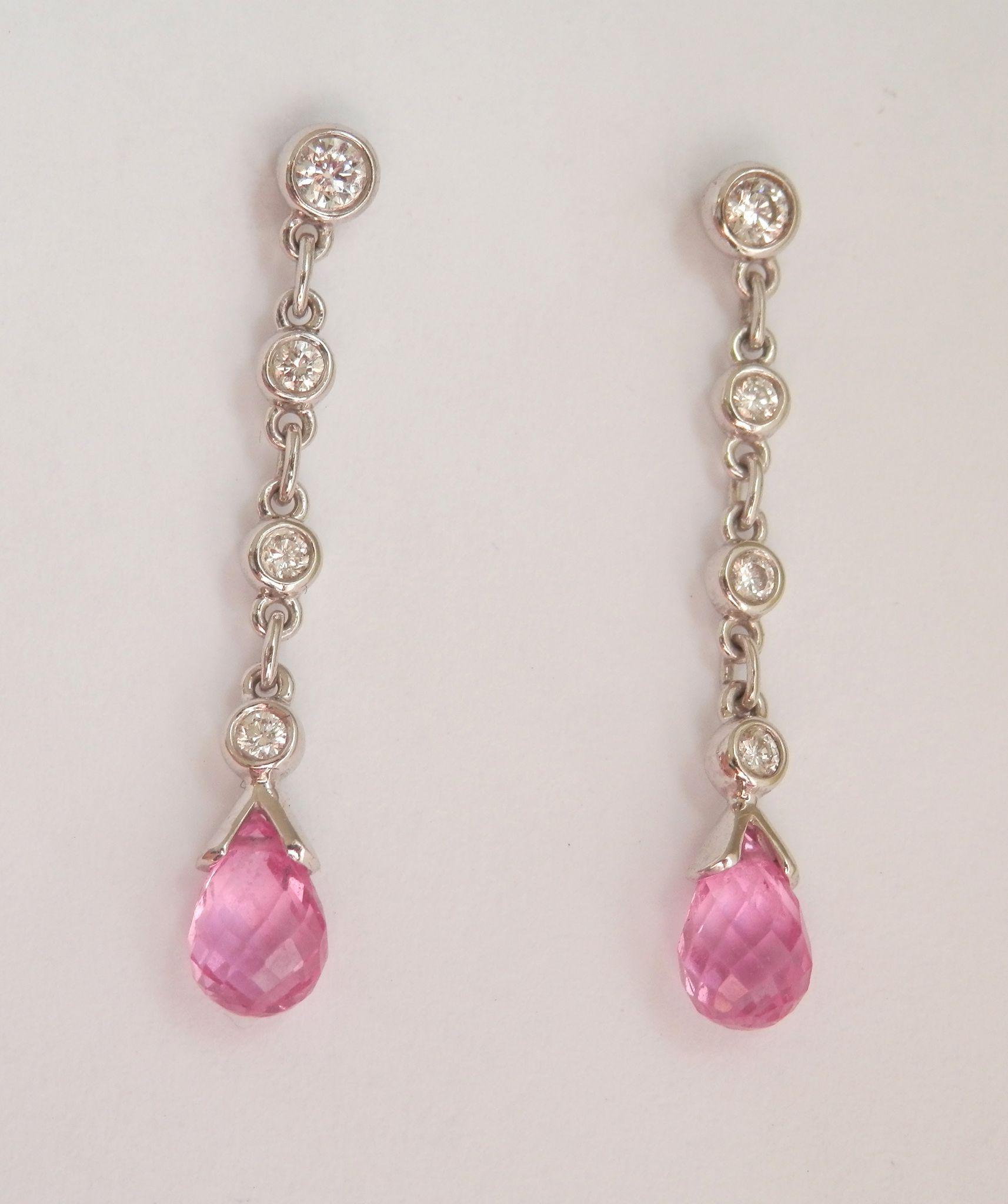 ON HOLD Lovely! 18K W/Gold Pink Sapphire Briolette Diamond Drop Earrings