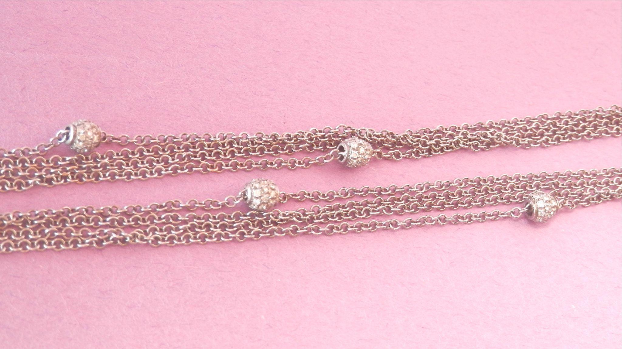 Striking LEO PIZZO 18K W/ Gold Multi-Strand 1.04 ct. Diamond Ball Necklace