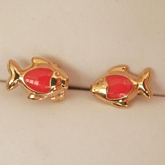 Sweet 9K Y/Gold Enamel Child's Fish Earrings