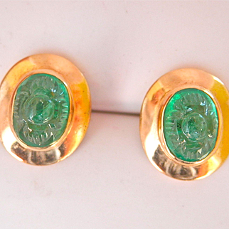 Lovely 18K Y/Gold Hand-Carved 1.50 ct. Emerald Earrings