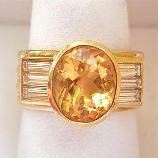 Fabulous! 18K Y/Gold DORIS PANOS 3.25 ctw. Citrine Diamond Heavy Ring