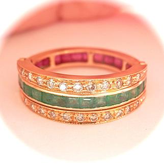 Beautiful Art Deco 18K Y/Gold Ruby Emerald Diamond Flip Ring