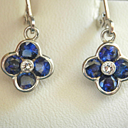 Stunning! Blue Sapphire Diamond Platinum Designer Drop Earrings