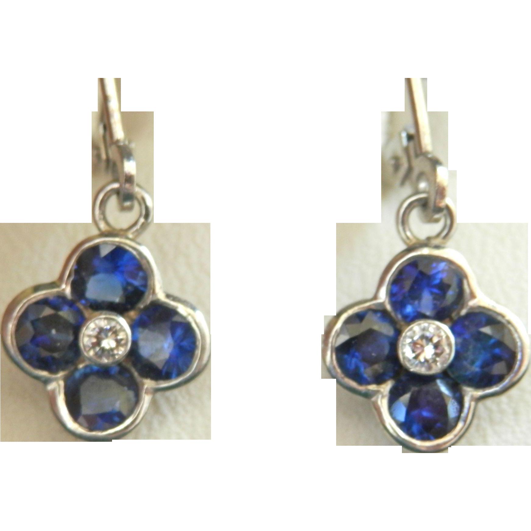 Stunning! Blue Sapphire Diamond Platinum Designer Drop Earrings