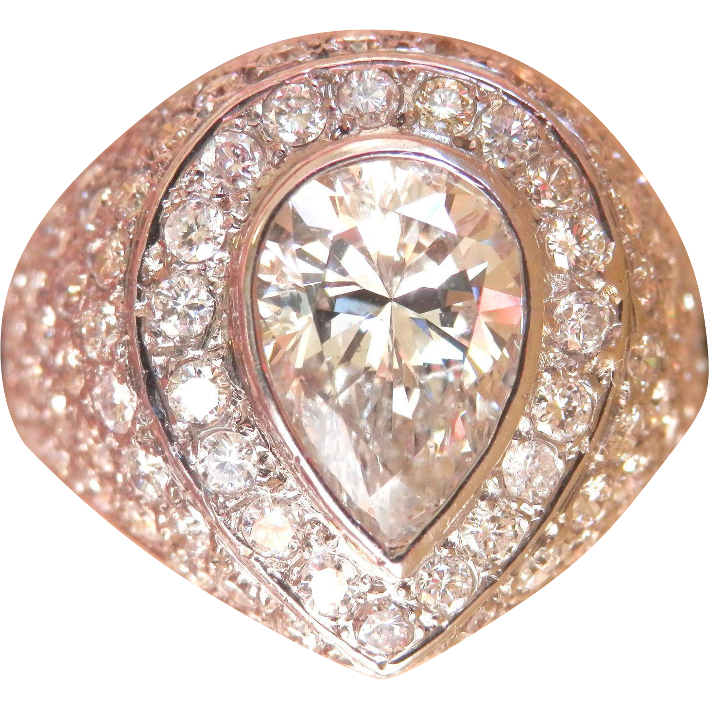 Exceptional! Large Estate 3.02 ct. Diamond Platinum Vintage Ring~Appraises for $19,500!