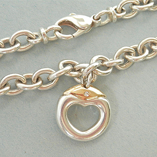 Terrific Movado Heavy Silver & 18K Open Heart Pendant Necklace