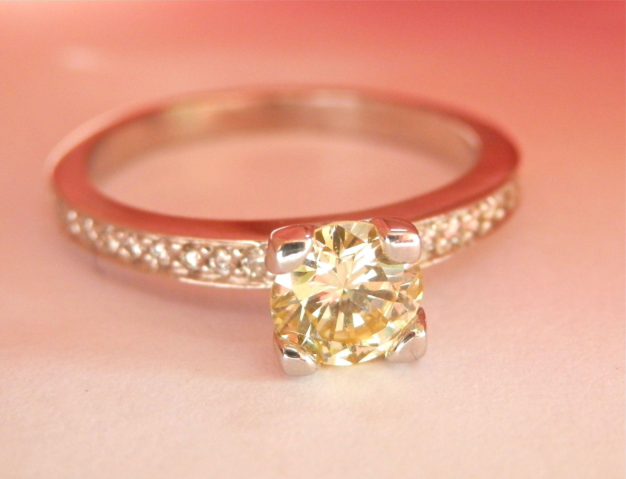 FINAL MARKDOWN! Wonderful 14K W/Gold 0.55 ct. Fancy Light Yellow Natural Diamond Ring GIA