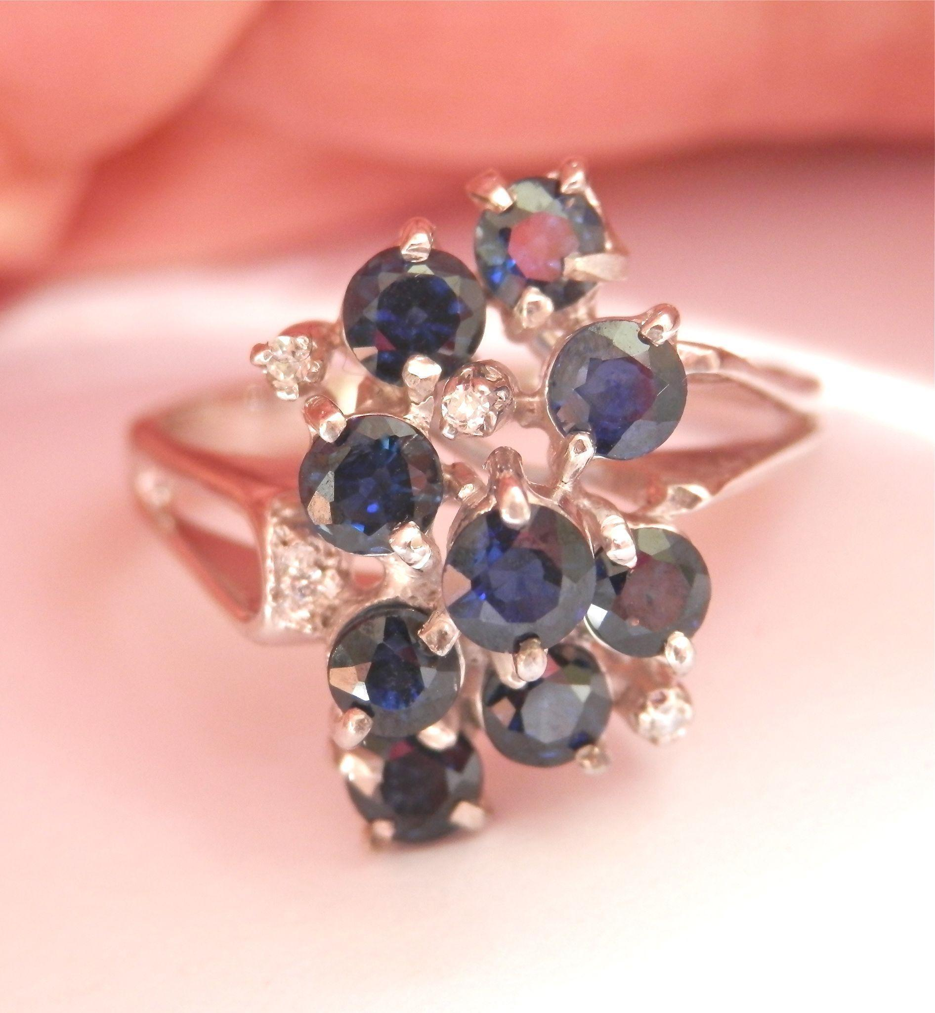 FINAL MARKOWN! Terrific 1950's 18K W/Gold Diamond Sapphire Cluster Ring