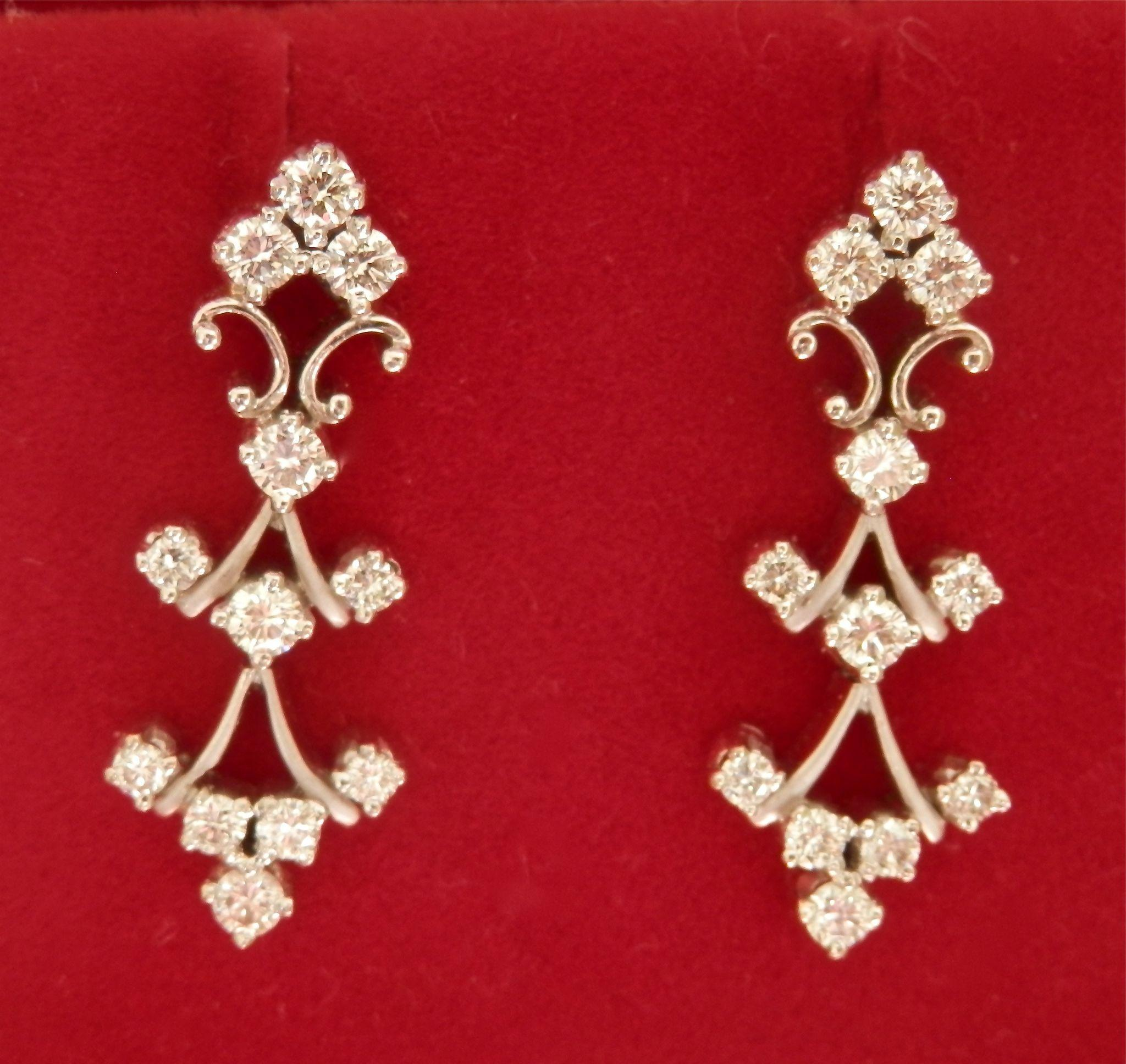 Elegant 14K W/Gold 0.78 cts. Diamond Drop Earrings