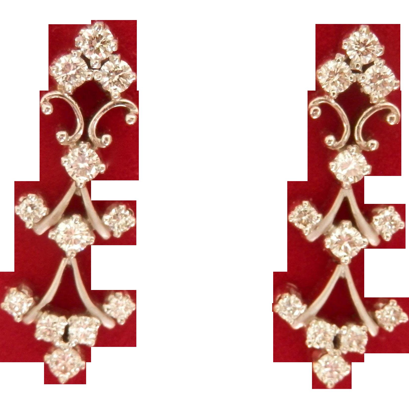 Elegant 14K W/Gold 0.78 cts. Diamond Drop Earrings