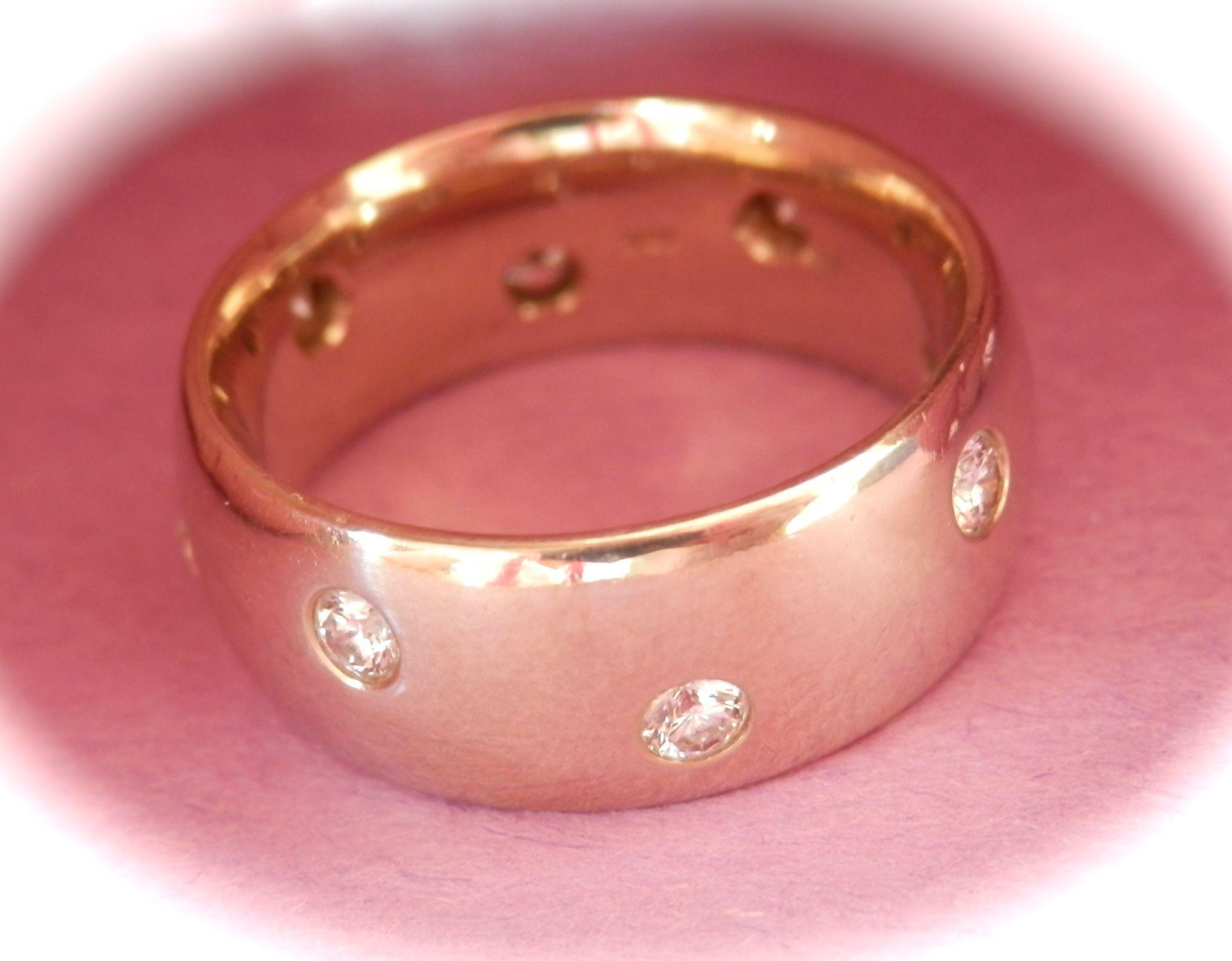 Heavy Wide 18K W/Gold 8-Diamond Etoile Band Ring~11.6 grams!