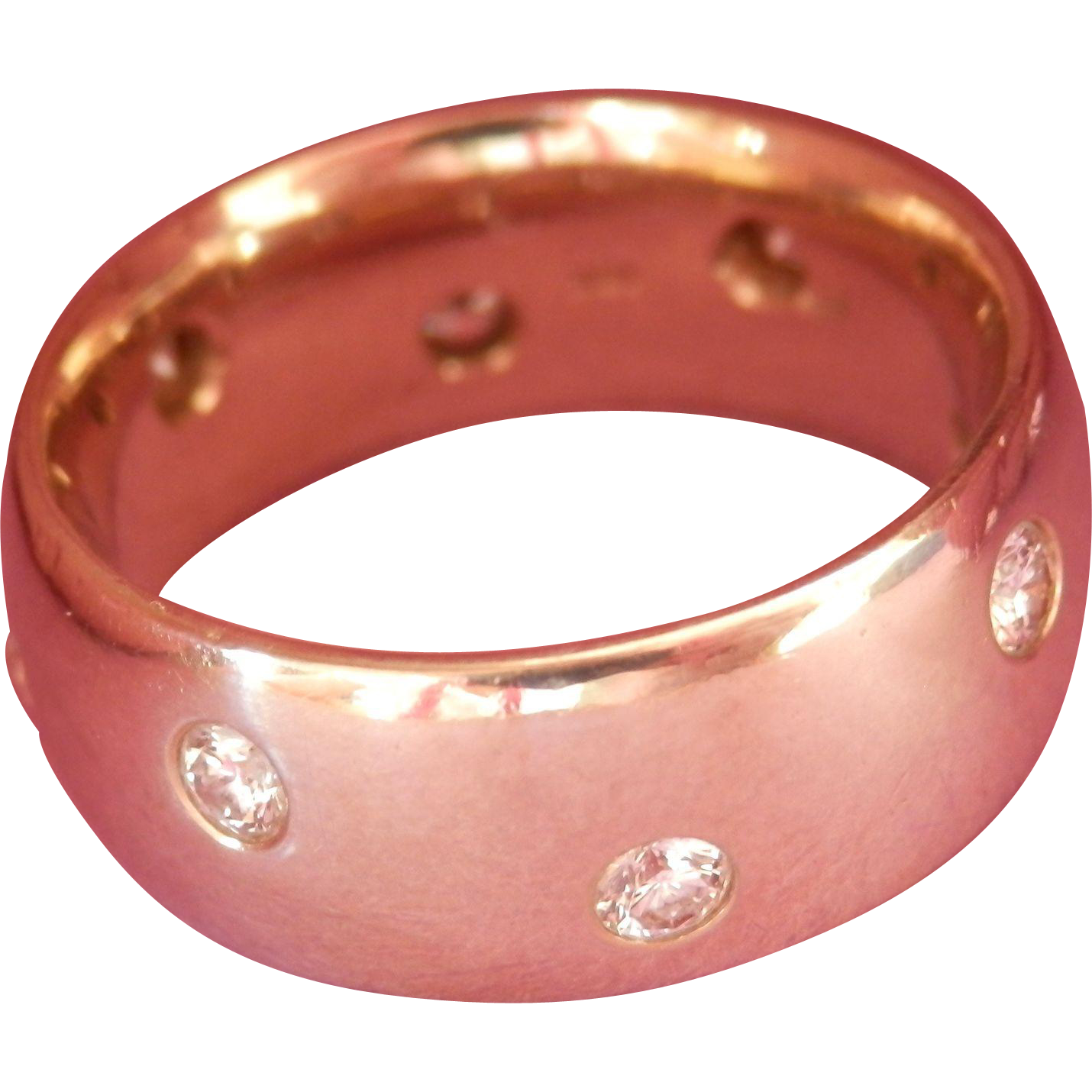 Heavy Wide 18K W/Gold 8-Diamond Etoile Band Ring~11.6 grams!