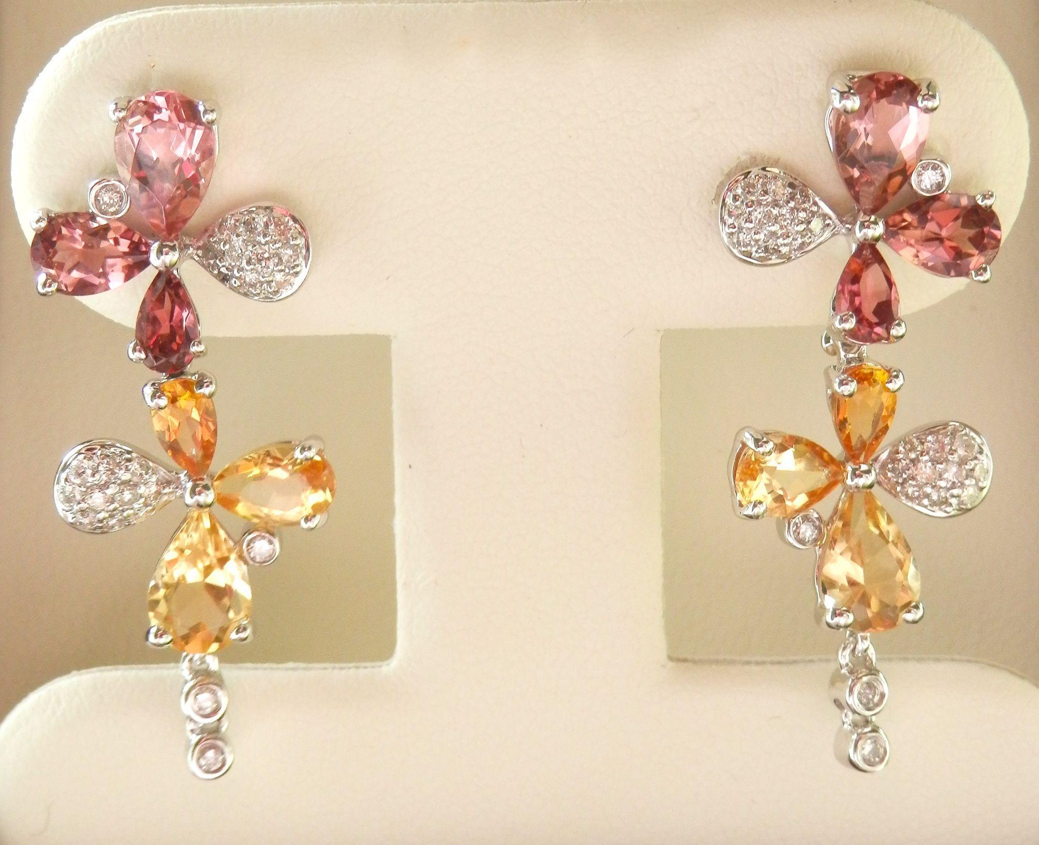 Exquisite 18K W/Gold Tourmaline, Citrine Diamond Drop Earrings