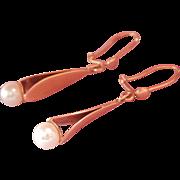 Elegant Danish 14K Y/Gold Pearl Drop Earrings~ Aase K. Margrethe Madsen