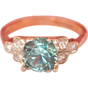18K Gold Platinum 1.25 Blue Zircon Diamond Ring