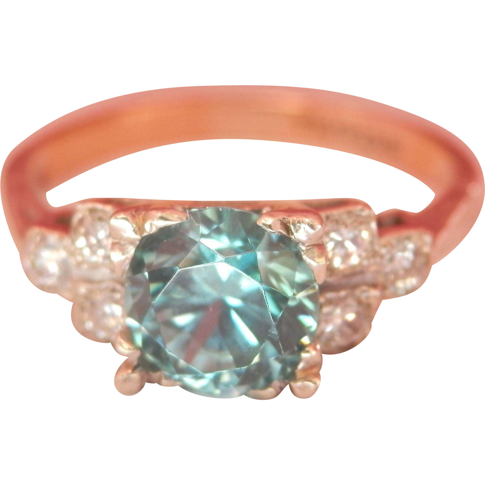 Final Markdown! 18K Gold Platinum 1.25 Blue Zircon Diamond Ring