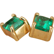 Gorgeous 18K Y/Gold 1.00 ct. Emerald Stud Earrings