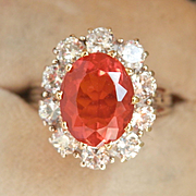 Sensational 18K W/Gold 1.80 Ct. Fire Opal Diamond Ring