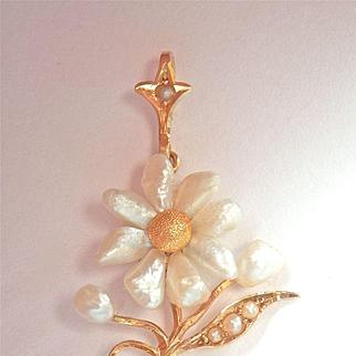 Lovely Art Nouveau 14K Y/Gold Natural Pearl Coral Drop Pendant