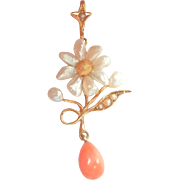 Lovely Art Nouveau 14K Y/Gold Natural Pearl Coral Drop Pendant