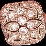 Exquisite Art Deco 18K W/Gold Platinum 1.08 ct. Diamond Ring
