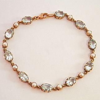 Lovely English 9K Y/Gold Aquamarine Pearl Link Bracelet