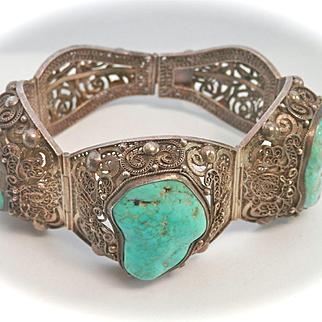 Terrific Large Vintage Chinese Turquoise Silver Filigree Panel Bracelet