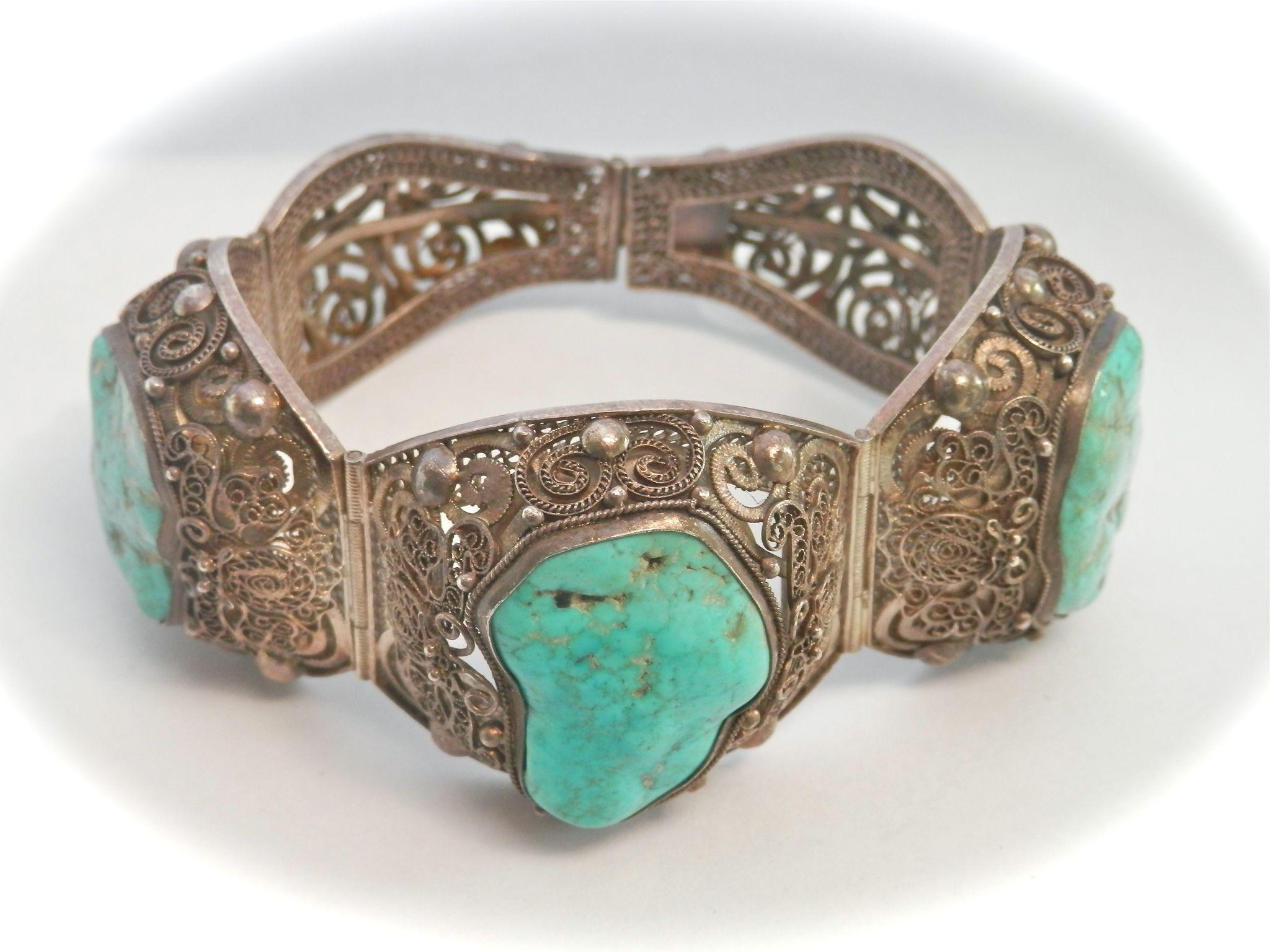 Terrific Large Vintage Chinese Turquoise Silver Filigree Panel Bracelet
