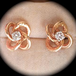 Beautiful 14K Y/Gold Engraved Diamond Love Knot Earrings