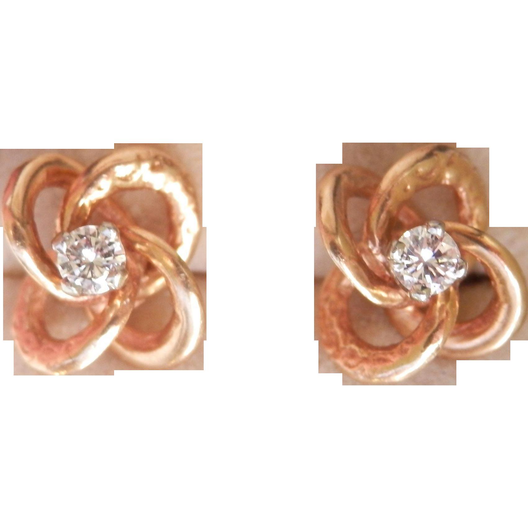 Final Markdown! Beautiful 14K Y/Gold Engraved Diamond Love Knot Earrings