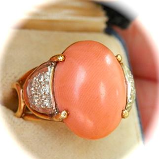 Striking Heavy 14K Gold Natural Coral Diamond Ring