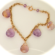 Lovely 9K Y/Gold Ametrine & Amethyst Drop Bracelet