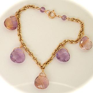 Lovely 9K Y/Gold Ametrine & Amethyst Drop Bracelet