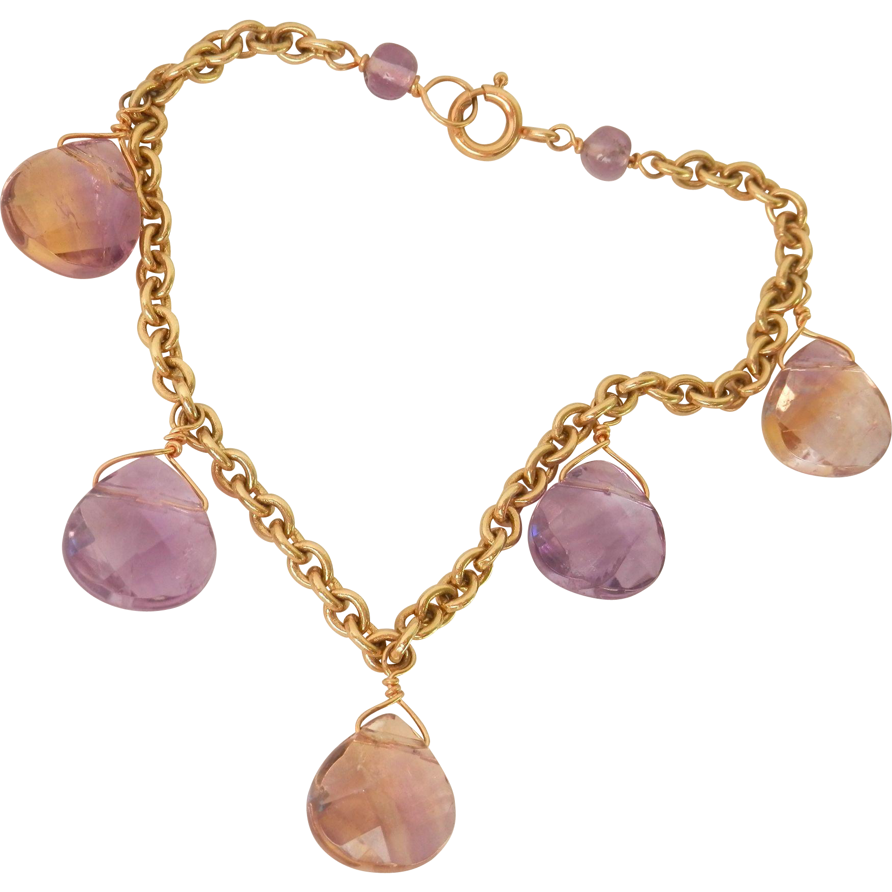 Final Sale! Lovely 9K Y/Gold Ametrine & Amethyst Drop Bracelet
