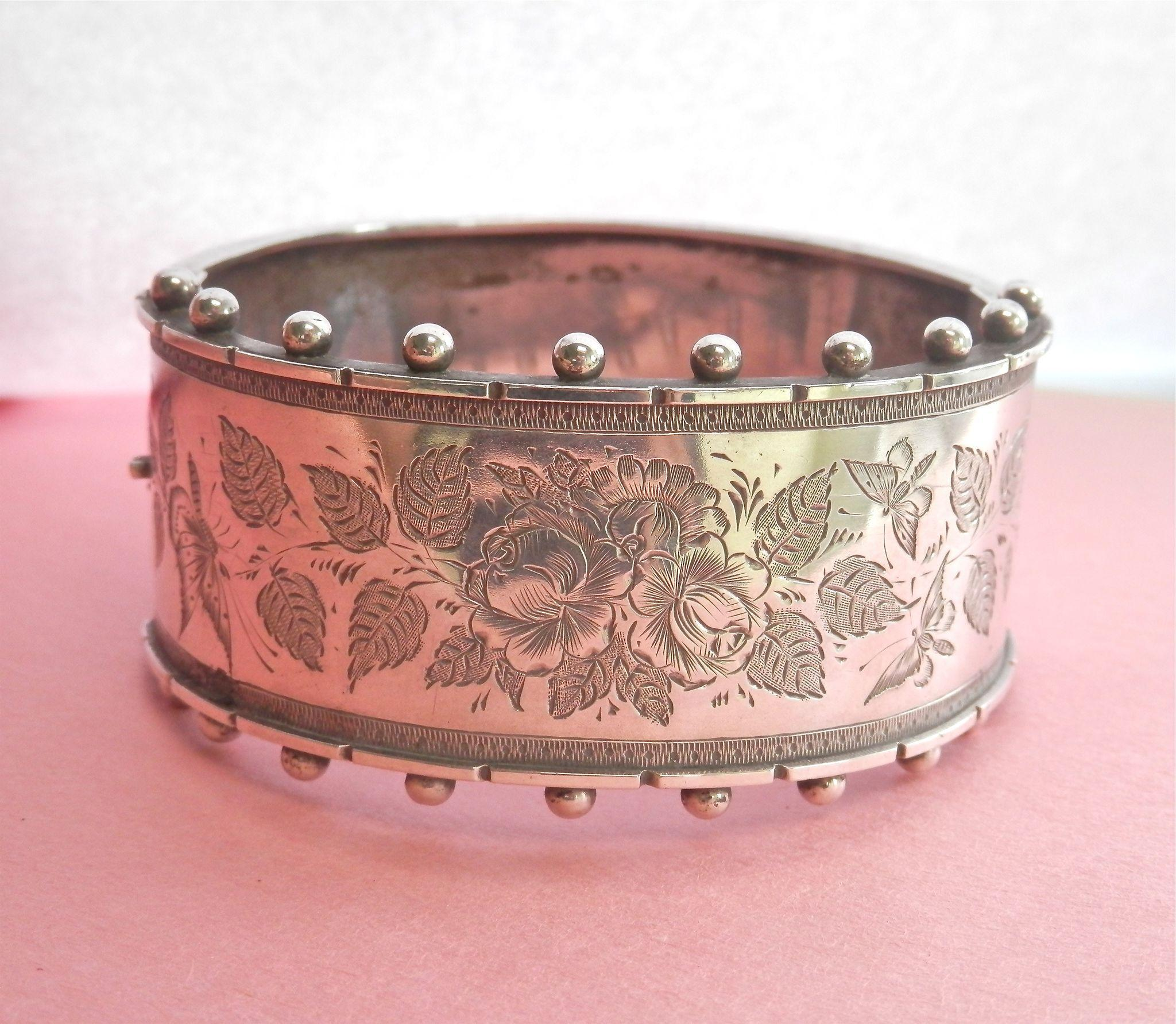 Lovely Victorian Engraved Hinged Silver Bracelet~ circa 1882