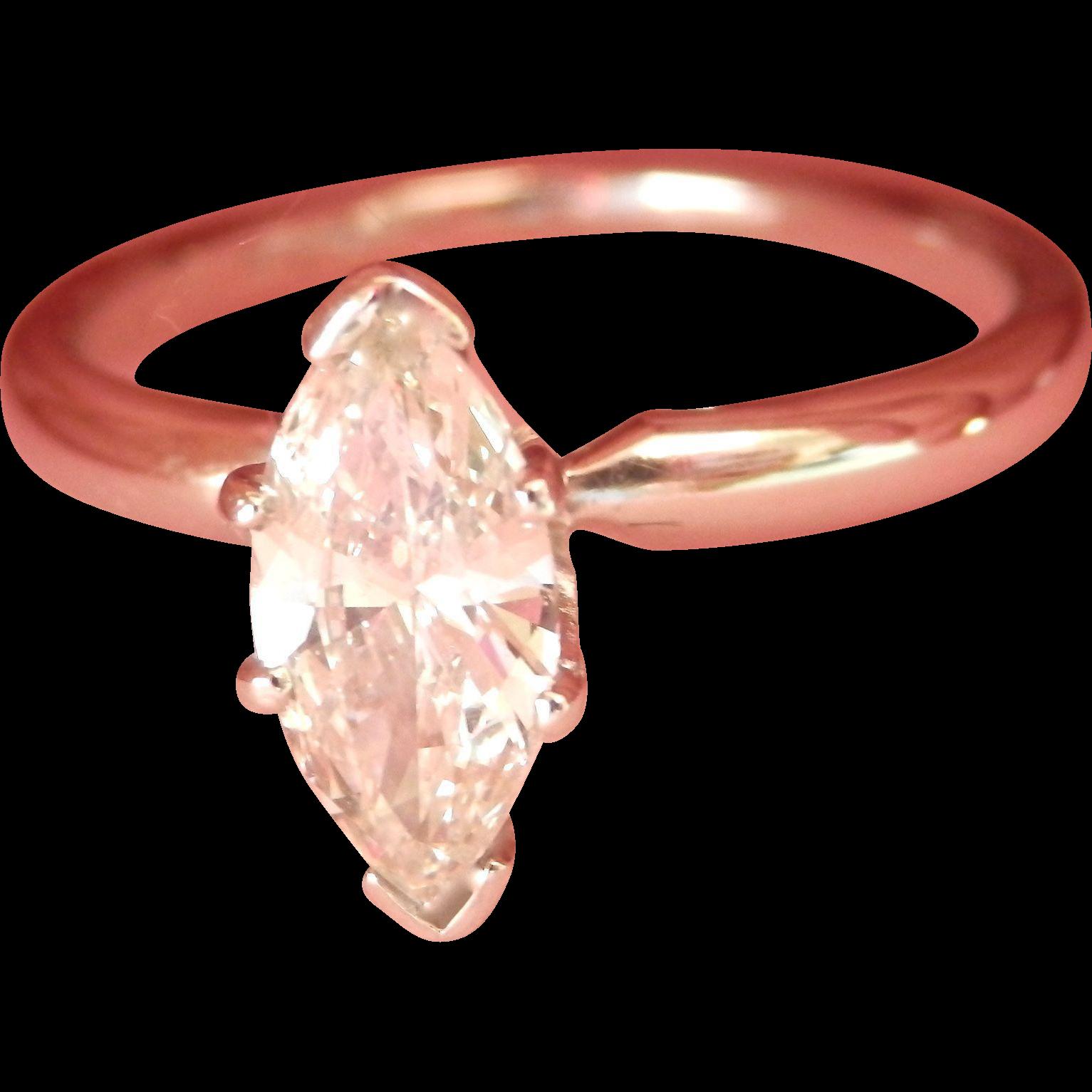 Terrific 14K W/Gold Platinum 0.81 ct. VS Diamond Solitaire Ring