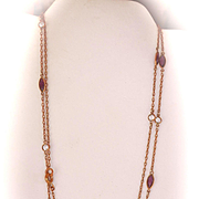 "Lovely Antique 37"" Amethyst Crystal Paste Muff Chain Necklace"