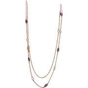 """Lovely Antique 37"""" Amethyst Crystal Paste Muff Chain Necklace"""