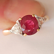 Amazing! 18K Y/Gold 1.53 Ruby Diamond Ring~ appraises at $12,400!
