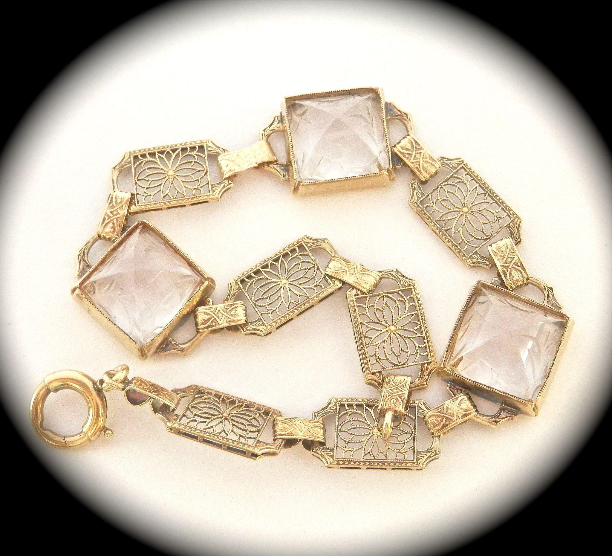 Beautiful Art Deco 14K Gold Filigree Engraved Rock Crystal Bracelet