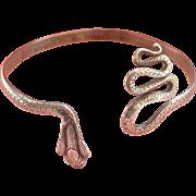 Detailed Handmade Sterling Silver Snake Bracelet