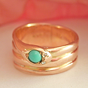 Wonderful Antique 15K Gold Coiled Snake Turquoise Diamond Ring