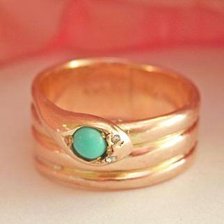 Wonderful Antique 15K Gold Coiled Snake Turquoise Diamond Ring