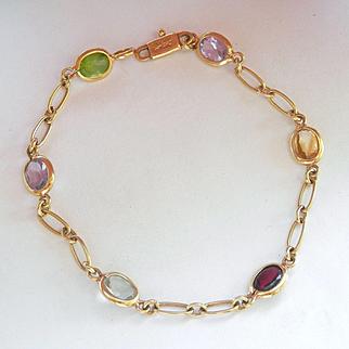 Lovely 14K Y/Gold Designer Multi-Gemstone Bracelet