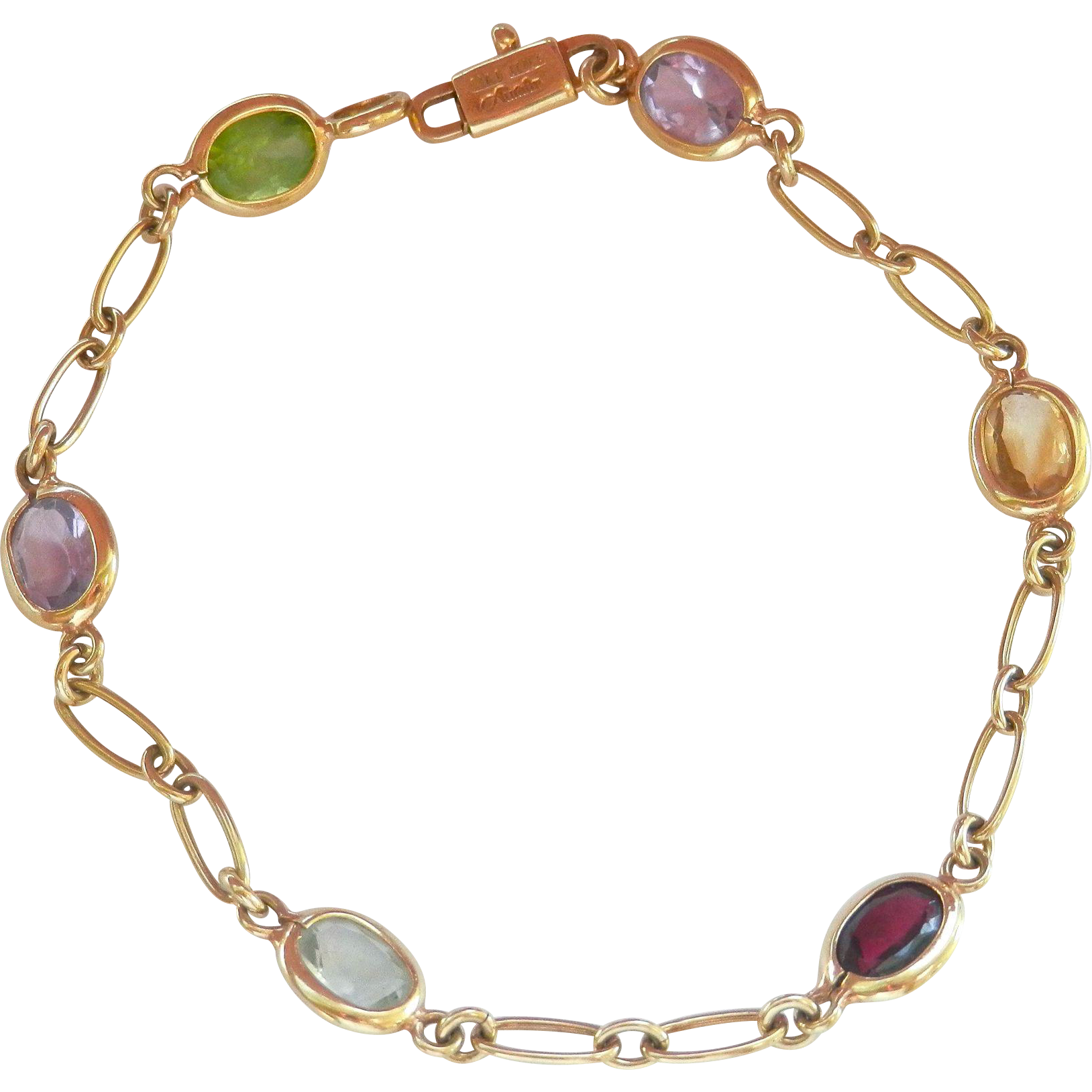 Lovely 14K Y/Gold Designer Multi-Gemstone Bracelet