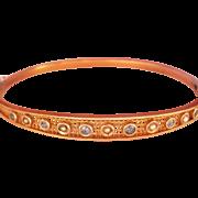 Lovely Edwardian 14K Y/Gold Sapphire Pearl Hinged Bracelet